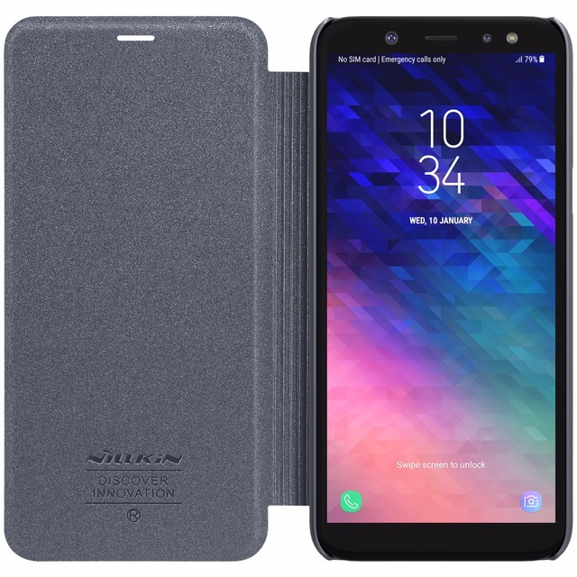 cheaper 65d4d 720c7 US $8.91 5% OFF|Case For Samsung Galaxy A6 2018 Original NILLKIN Sparkle  Flip Leather Phone Case Cover For Samsung Galaxy A6 Plus A6+ Case-in Flip  ...