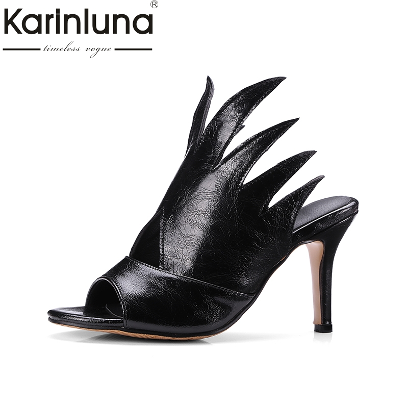 KARINLUNA large size 32-48 top quality high heels summer shoes woman pumps sexy peep toe black white slip on mules women shoes lasyarrow brand shoes women pumps 16cm high heels peep toe platform shoes large size 30 48 ladies gladiator party shoes rm317