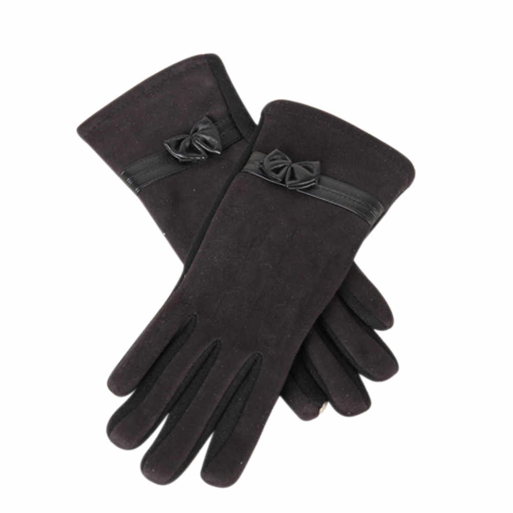 tactical gloves winter women fashion 1 Pair uede Cute Bow Full Finger Touch creen Warm Mitten Driving ki Riding Windproofmar 14