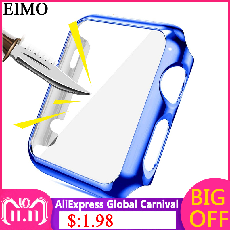 EIMO Frame Protective Case for Apple Watch band 42mm 44mm iwatch 4/3/2/1 38mm 40mm Colorful plating cover shell Smartwatch Cases pc cover case for apple watch 3 2 1 42mm 38mm iwatch series watch case colorful plating full frame protective case armor shell