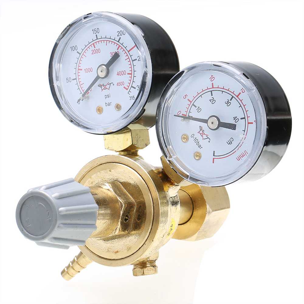 High Quality Argon CO2 Pressure Reducer Mig Flow Control Valve Dual Gauge Welding Regulator 108x120x125mm цена