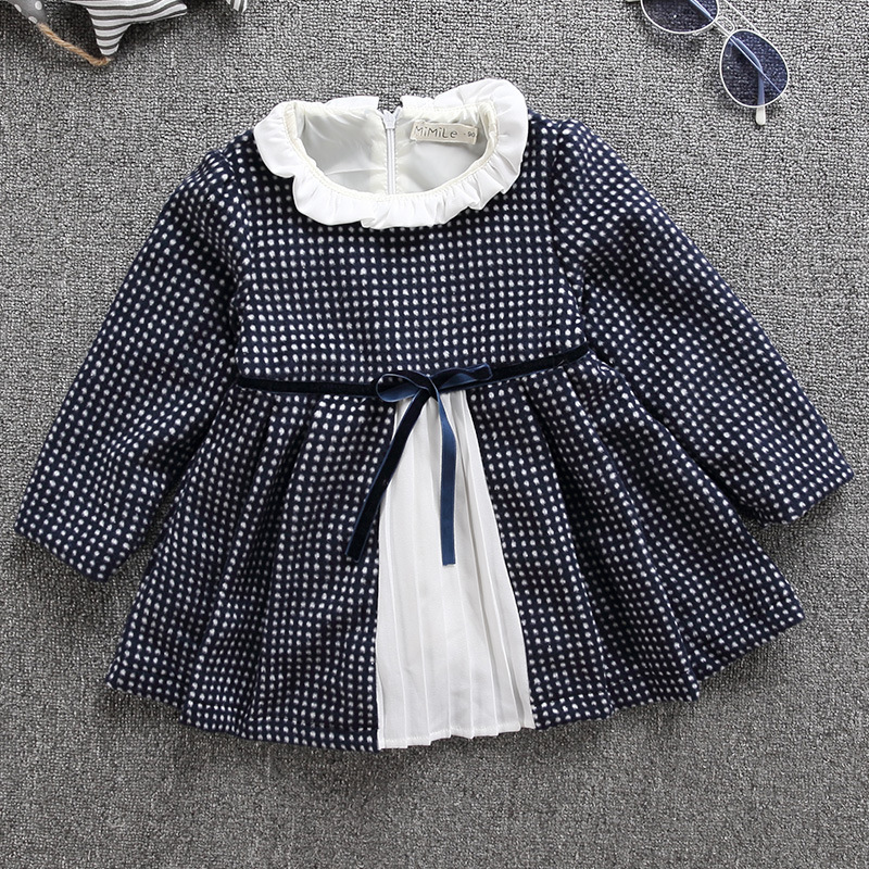 Autumn Girls BowKnot Dot Wool Dress Patchwork Clothes For Infant Baby Princess Girl Costume Kids Dresses Party Birthday Clothing baby girl dress infant dot dresses
