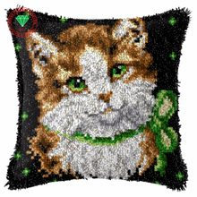 Needlework Latch hook rug kits Cat cross stitch thread embroidery kit Carpet embroidery Pillowcase crochet hooks clover stitch(China)