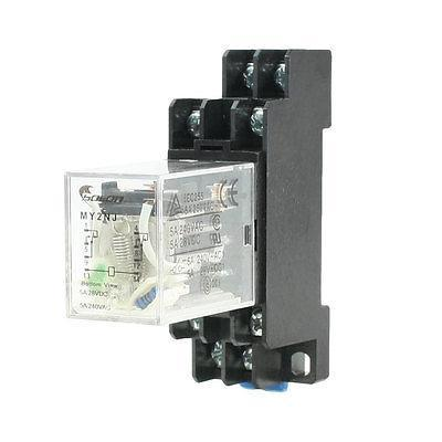 Подробнее о DC 12V Coil 8 Pin 35mm DIN Rail Electromagnetic Relay Power Relay MY2NJ w Socket free shipping dc 12v coils dp2t 8 terminals motor control electromagnetic power relay w socket
