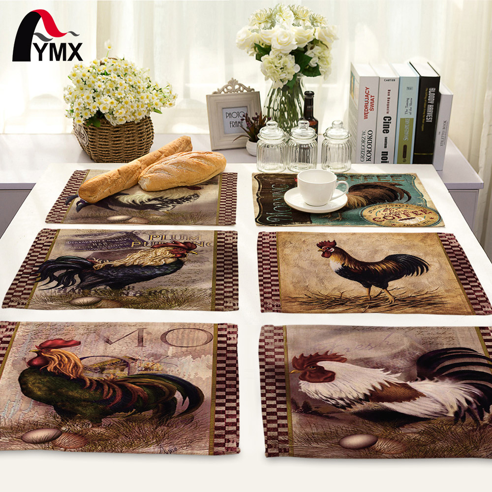 42*32cm Creative Animal Retro Cock Printed Table Napkin For Wedding Set Bowl Dining Mats Kids Table Set Home Decoration