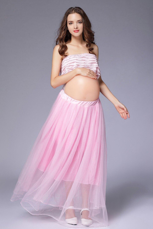 Elegante Rosa Maternidad vestido fotografía props embarazo ropa ...