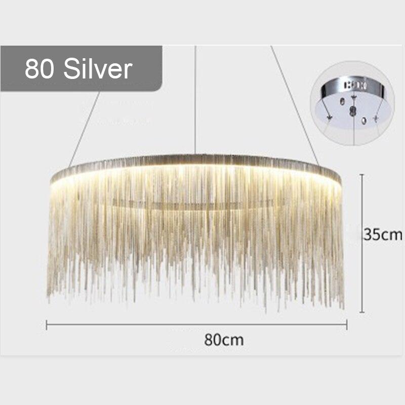 IKVVT роскошные подвесные светильники золотистого и серебряного цвета, круглые лампы с кисточками, Алюминиевый металлический корпус для гостиной, отеля, современные домашние лампы - Цвет корпуса: Dia480cm Silver