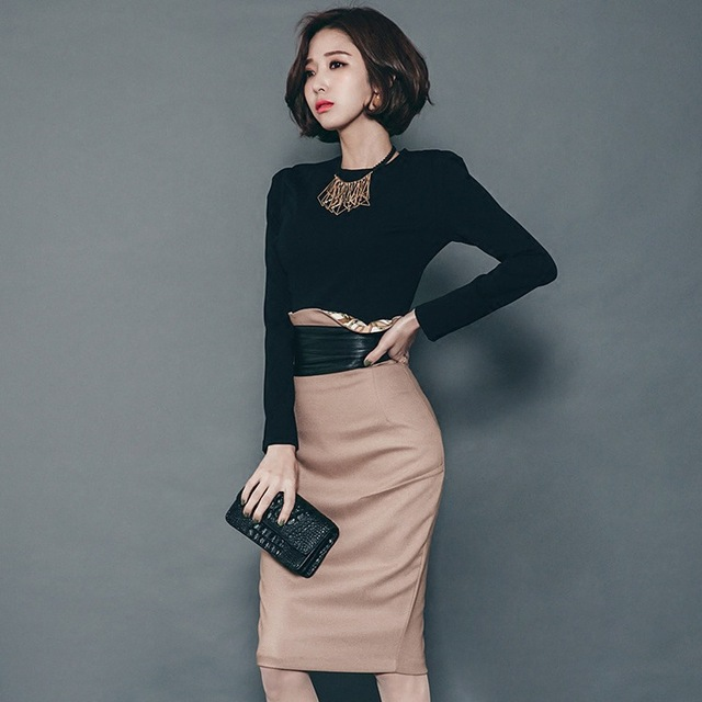 2018 otoño coreano moda damas mujeres elegantes Trajes Slim Oficina  negocios SOILD casual Tops + falda 02ec29959bf0