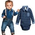 JY-043 Al Por Menor 2016 nuevo de alta calidad de juego de los niños de la camiseta + bib jeans pantalones otoño ropa de bebé muchachos que arropan el envío gratis