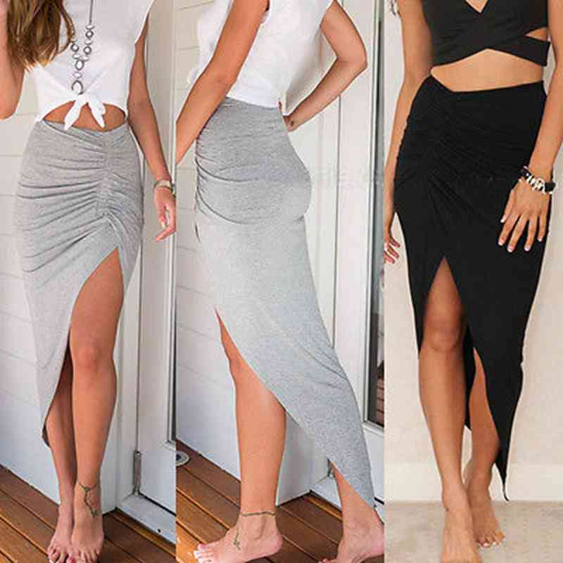 New Women Fashion Irregular Sexy Banded Hi Low Bodycon Pencil High Waisted Stretch Midi Skirt 6-14