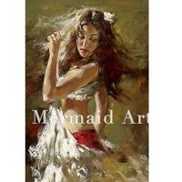 3D Handpainted Canvas Art Ballerinas Handpainted Modern Woman Portrait Painting Ballet dance Girl Oil Painting on Canvas