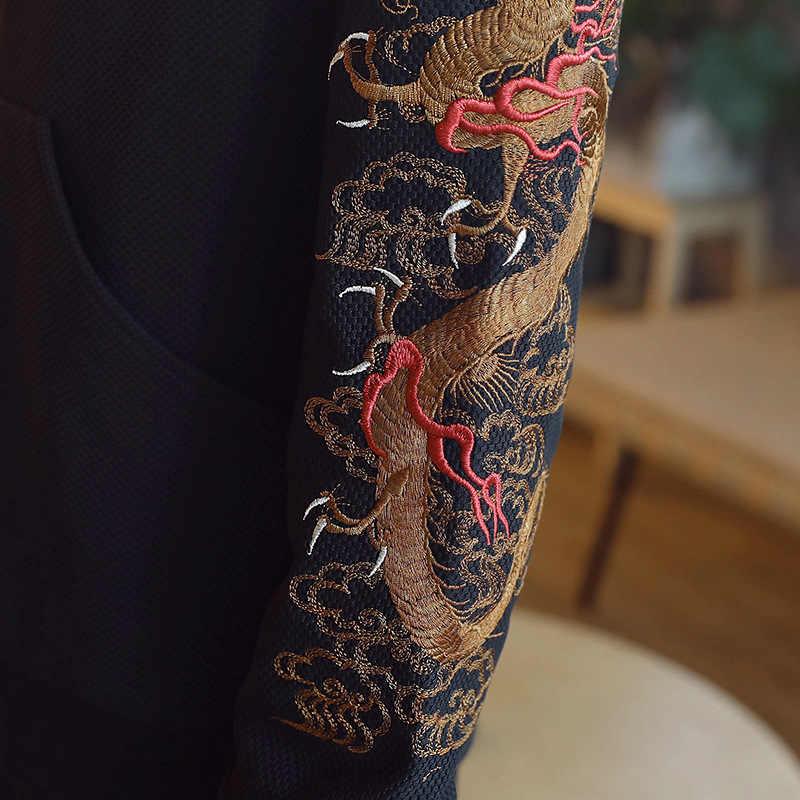Традиционная китайская одежда для мужчин s Dragon вышитые Танг костюм для мужчин Кунг фу Тай Чи Мастер костюм мужской бомбер куртки CN-010