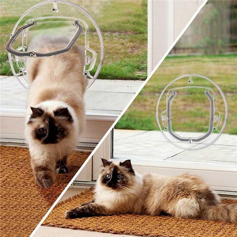 שקוף עגול כלב דש דלת זכוכית דלת פלסטיק ביתי חתול שער ביטחון הניתן לנעילה לחיות מחמד כניסה גור חור
