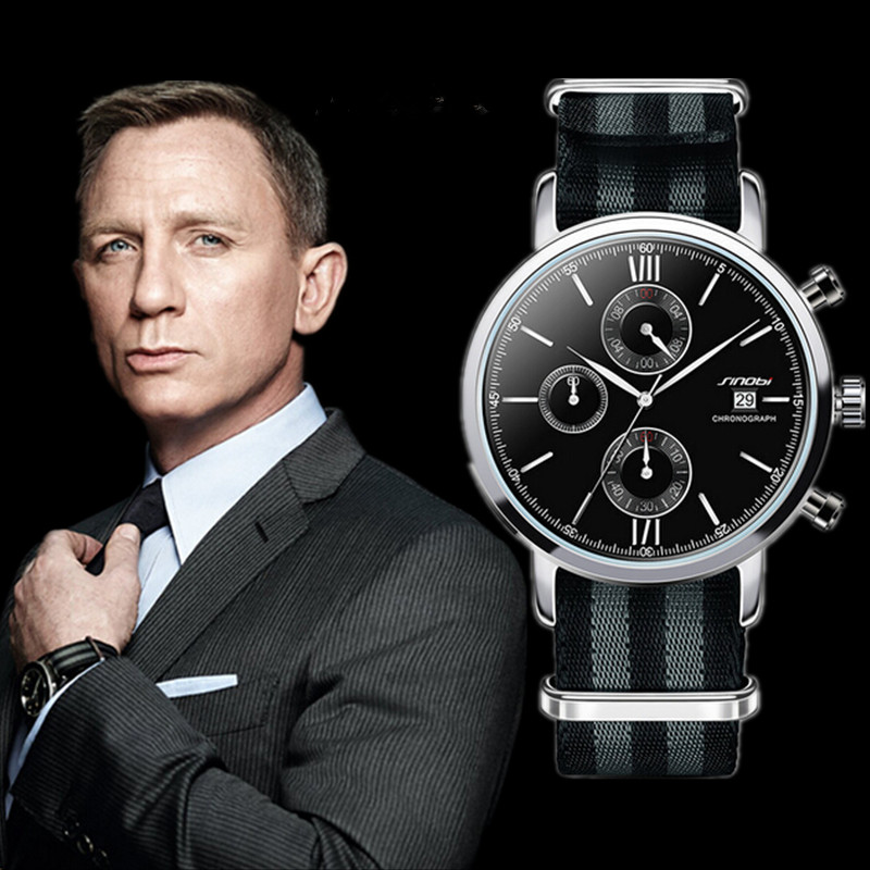 SINOBI James Bond 007 Watch Men Watch Chronograph Sport Men's Watch Nylon Band Watches Clock relogio masculino erkek kol saati серьги турмалин