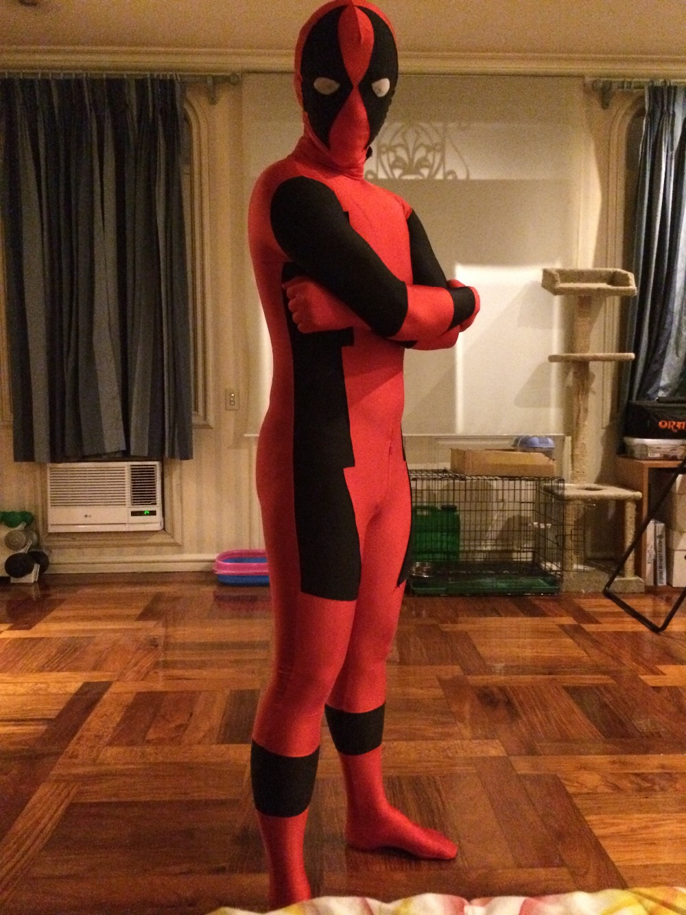 Custom Made Super Hero Deadpool costume With Mask Adult Kids Men Cosplay Costume Lycra Spandex Full Body Deadpool Suit