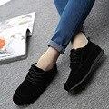 Бесплатная доставка 2016 новый полный черный повседневная обувь женщин осень повседневная обувь плоские туфли студент обувь