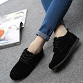 Free shipping 2016 new full black casual shoes women autumn casual shoes flat shoes student shoes