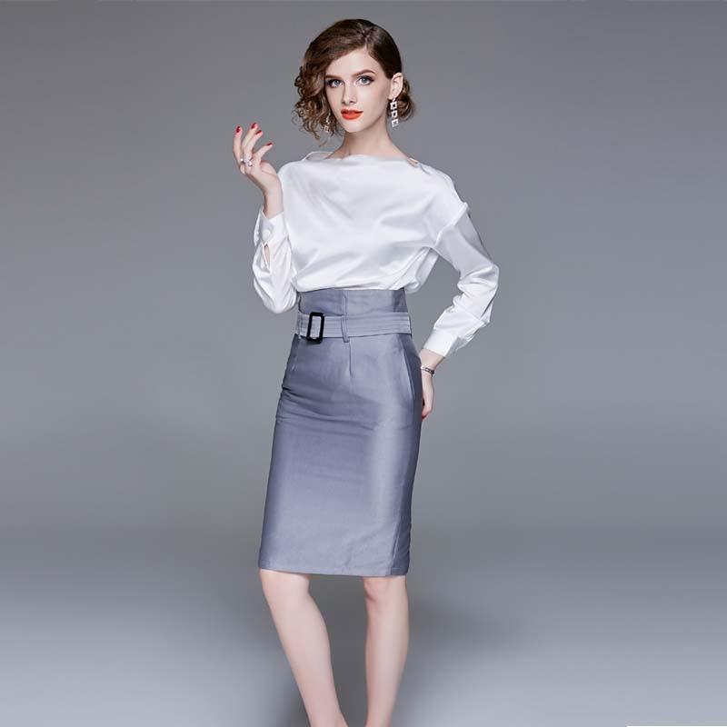 One shoulder white shirt OL half dress suit 2018 autumn ...