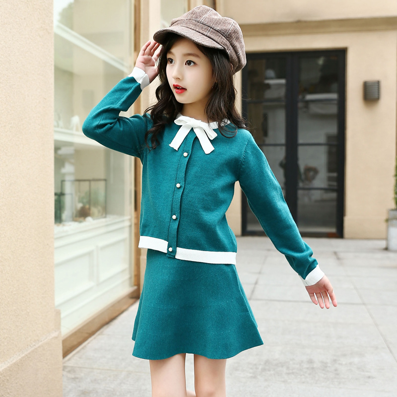 Kids Girls Clothing Sets 2018 Spring Autumn Children Knit Coat+Skirt 2PCS Set Fashion Girls Clothes Outfits 4 6 8 10 12 13 Years