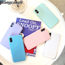 Macaron candy color silicon Case For iPhone 6 6s 7 8 Plus X XS MAX XR Soft TPU Candy Color Back Cover Gift tempered film