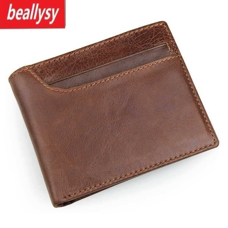 2018 New Crazy Horse Genuine Cowhide Leather Men Short Small Wallet Purse Card Holder Coin Pocket Male Vintage Mini Wallets