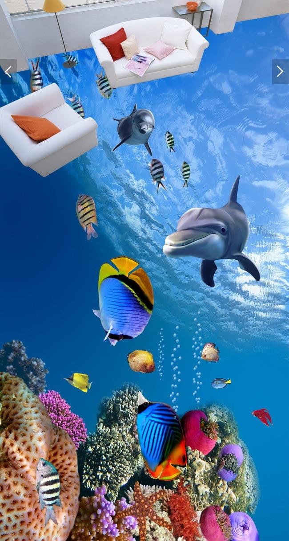 3 D Pvc Flooring Custom Wall Paper Sticker 3d Undersea World Fish 3d