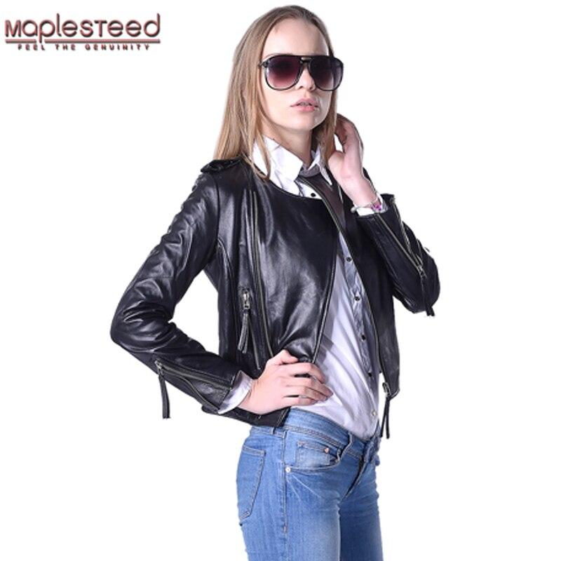 MAPLESTEED Women Leather Jacket 100%  Genuine Sheepskin Lambskin O-Neck Black Short Female Coat Spring Autumn Plus Size 5XL 046