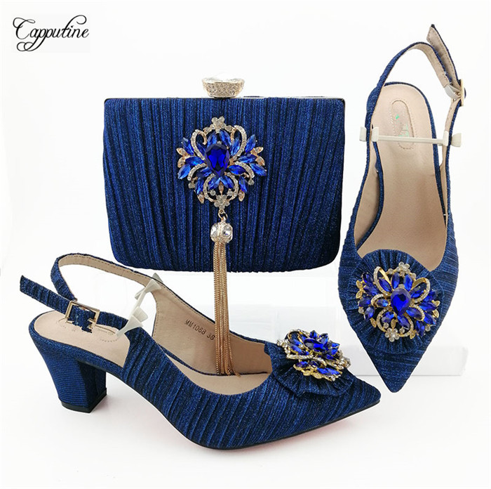 Beautiful royal blue pointed toe shoes matching with evening handbag set decorated with stones MM1088, heel height 6.8cmBeautiful royal blue pointed toe shoes matching with evening handbag set decorated with stones MM1088, heel height 6.8cm