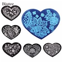 10Pcs/set 5.6*7.15cm Love Heart 3D Nail Art Stamping Plates