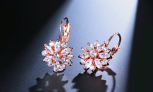 Fashion Rose Gold Color Hoop Earrings Flower Cluster Clear Crystal Zirconia Earrings For Women Jewelry