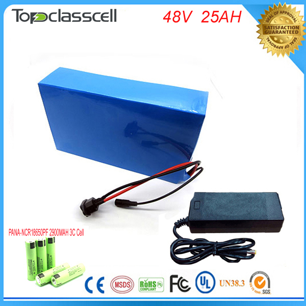 1000W 48V 25AH Lithium Battery Electric Bicycle battery  48V 1400W Battery Lithium-ion ebike battery pack   For  Panasonic  cell 48v 34ah triangle lithium battery 48v ebike battery 48v 1000w li ion battery pack for electric bicycle for lg 18650 cell