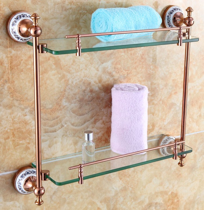 Free shipping Bathroom Accessories Solid Brass rose Golden Finish With Tempered Glass,Double Glass Shelf bathroom shelf RG001 bathroom accessories solid brass golden finish with tempered glass crystal double glass shelf bathroom shelf free shipping 6314