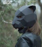 Creatieve handgemaakte 3D papier mold diy Panther masker hoofddeksels party Halloween Dier Maskers Voor Cosplay