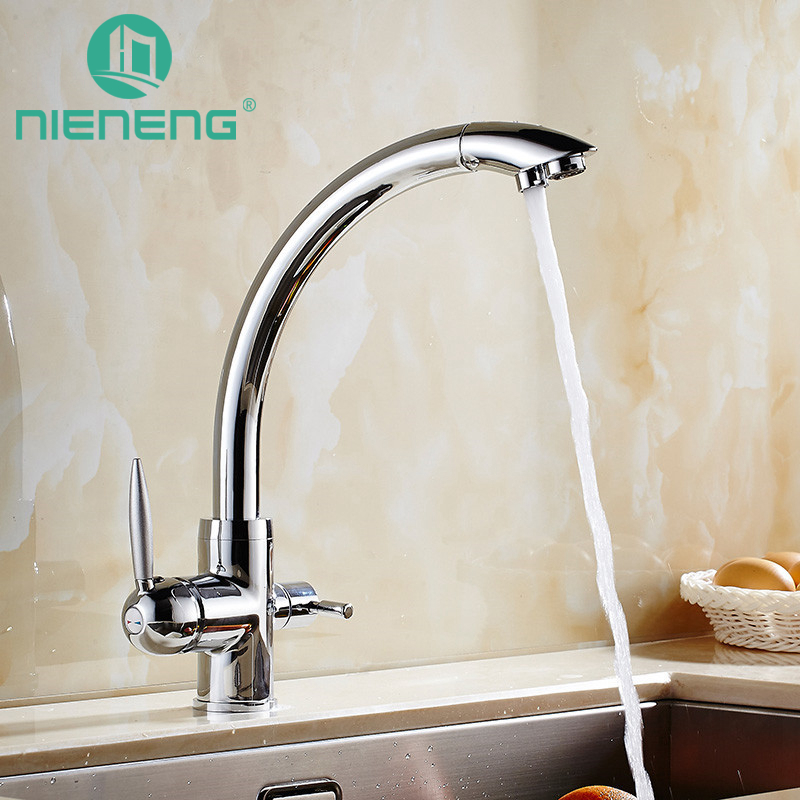 Nieneng Brass Taps Swivel Sink Mixer Drinking Water Kitchen Faucet 3 Way Water Filter Tap with Water Purifier Handle ICD60372 golden brass kitchen faucet dual handles vessel sink mixer tap swivel spout w pure water tap