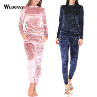 2016 Women Two Piece Set Female Winter Tracksuit Velvet Hoodies Top Pants Ladies Long Sleeve Outfit