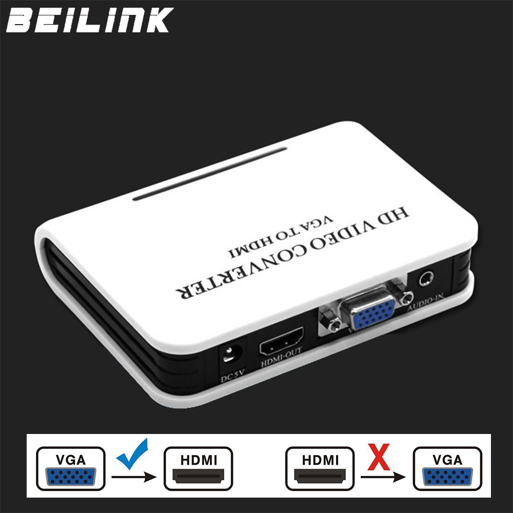BEILINK Quality Portable Plug and play VGA To HDMI Output 1080P HD Audio TV AV HDTV PC Video Cable VGA2HDMI Converter Adapter vga to hdmi hd video converter w usb cable black white