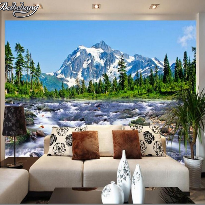 beibehang custom wallpaper snow mountain river 3d landscape photo wallpaper modern house. Black Bedroom Furniture Sets. Home Design Ideas