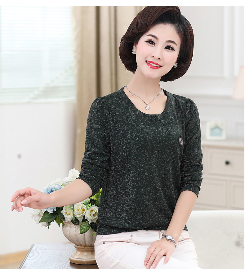 Women Spring Tops Bright Glod Yarn Blouses Red Caramel Green Twinkle Design Shirts Female Casual Long Sleeve O-neck Top For Woman (10)