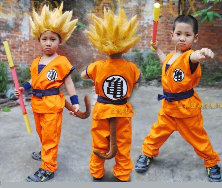 Dragon Ball Z DBZ Goku Cosplay ropa y peluca Cosplay para niños top/Pant/peluca/ cinturón/cola/MUÑECA/oro