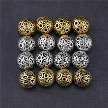 Juya 10 adet toptan içi boş Vintage Metal boncuk malzemeleri antika altın kazınmış boncuk İğne boncuk takı yapımı