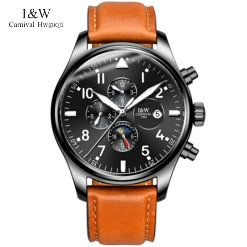 Carnival moon phase automatic mechanical watches men brand luxury wristwatch genuine leather full steel clock relojes saat reloj free shipping time100 top brand sun moon phase taichi pattern genuine leather strap skeleton automatic mechanical watches clock