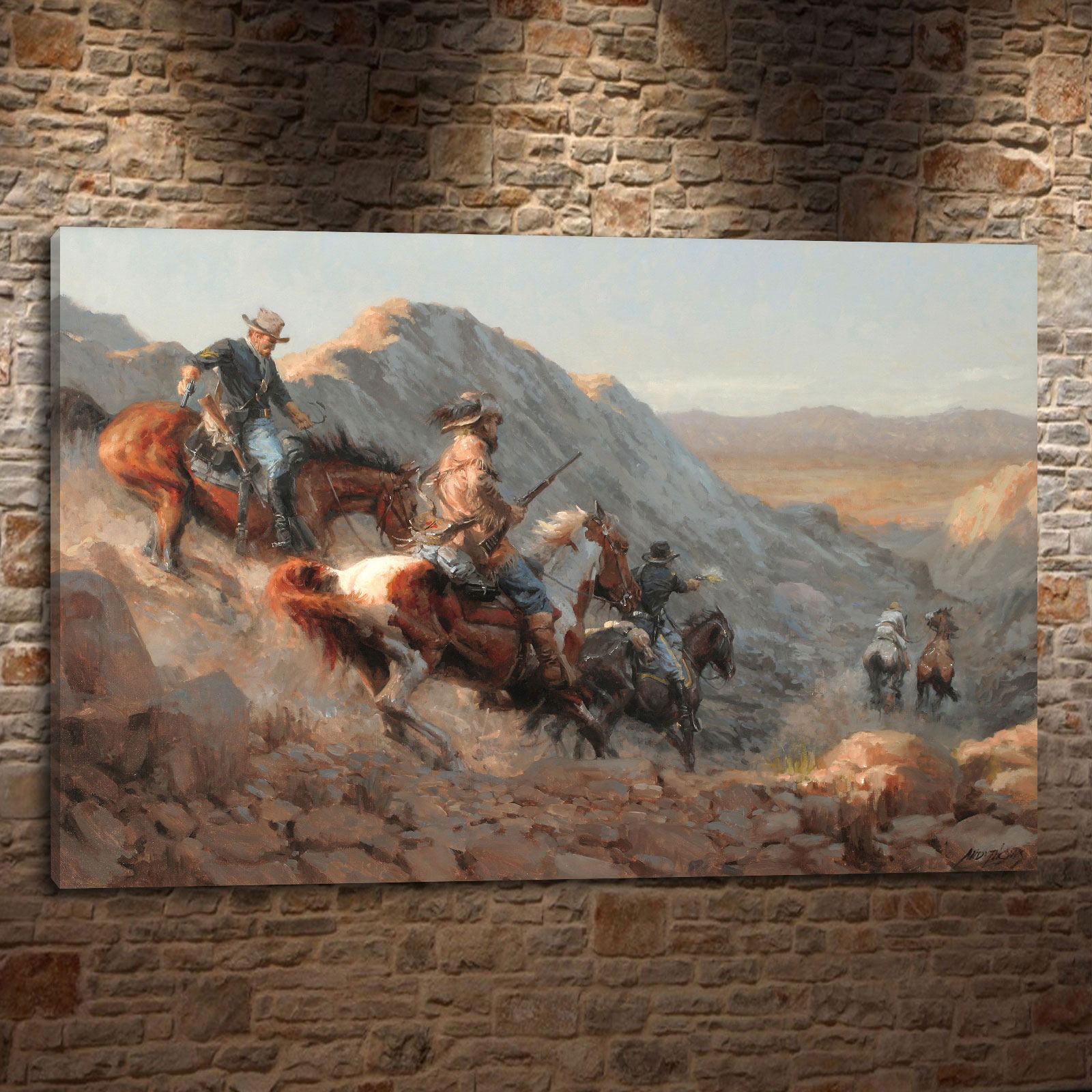 Andy thomas western landscape cowboy style gift canvas painting living room bedroom home decor modern wall art oil painting 055