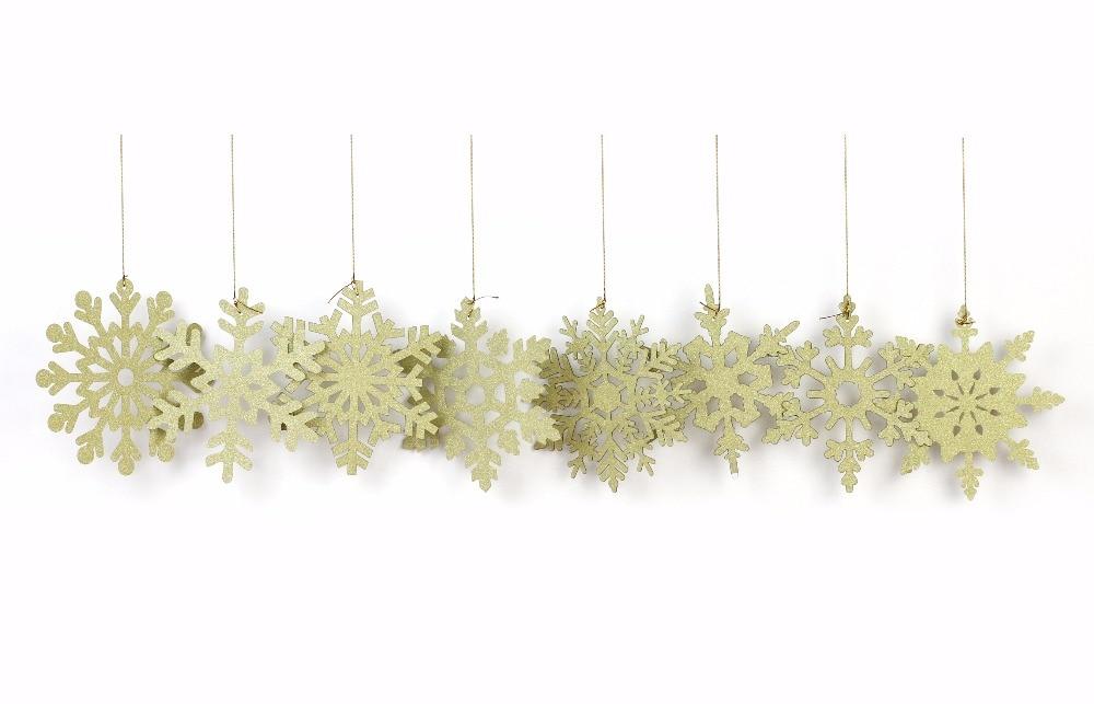 New 8Pcs Gold Snowflake Christmas Hanging Decoration Wall Birthday Weeding