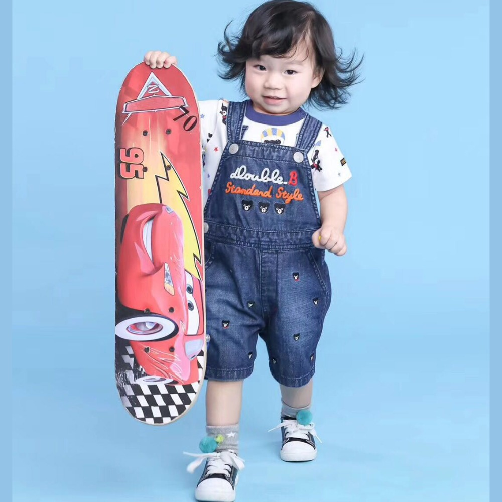 Miki 2018 Best Selling Baby Boy Sets Overalls Short Pants Patches Belt Pants Toddler`s Soft Jeans Shorts Summer T-shirts Tops italian style fashion men s jeans shorts high quality vintage retro designer classical short ripped jeans brand denim shorts men