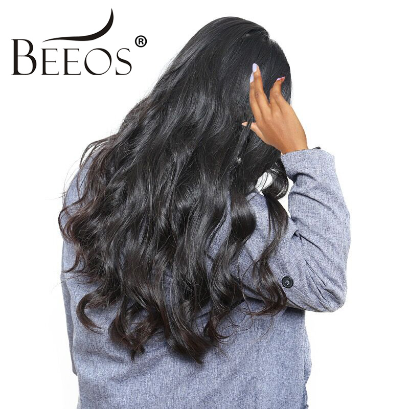 Beeos Malaysian Body Wave Lace Front Human Hair Wigs Remy Wigs With Baby Hair Pre Plucked Free Shipping 8-24 Natural Color