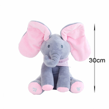 Large Animal Doll Toy Peek A Boo Elephant Play Music Educational Sleeping Animals Toys Girls Birthday For Children Kids TY0320