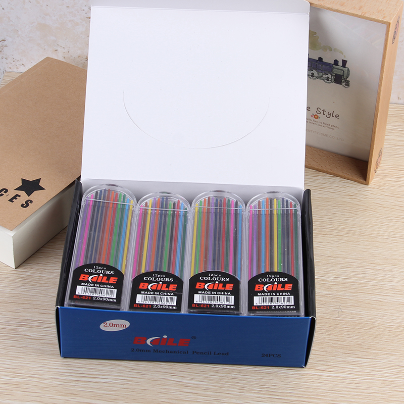 free ship 24 tubes box 12 colors of 2 0mm mechanical pen refills with high quality