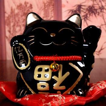 10 Inch Maneki Neko Ceramic Lucky Cat Home Decor Porcelain Ornaments Business Gifts Fortune Cat Money Box Fengshui Craft Gift