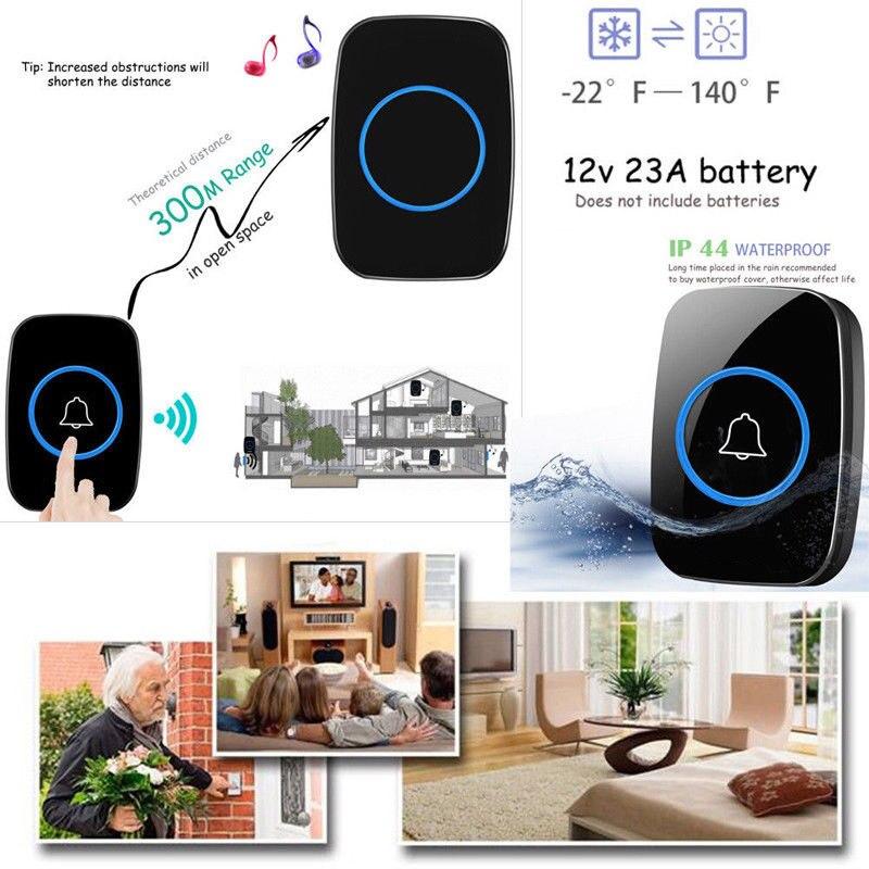 лучшая цена EU/UK/US Plug 300M Waterproof LED Wireless Doorbell 38 Songs Chime Bells 77 JDH99