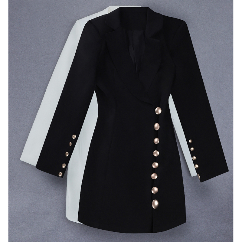 HIGH QUALITY Newest Fashion 2019 Stylish Designer Dress Women's Metal Buttons Notched Collar Slim Dress